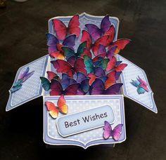 3D Fluttery Butterflies Rubber Band Pop Up Box Card.. Wow! Look at all those butterflies!