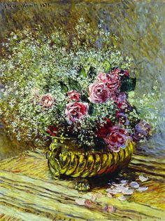 Roses In A Copper Vase, by Claude Monet