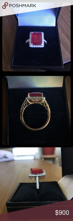 REDUCED!! ❗️Vintage Natural Ruby and Diamond ring This is a gorgeous 6.3 carat Ruby and 0.68 carat diamond with 14K gold band cocktail ring! 😍 Orianne trademark. Appraised at $3,385!!! Feel free to make an offer - the price is negotiable. Vintage natural gemstones at this price are hard to find! Orianne Jewelry Rings