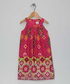 Take a look at the Yo Baby Magenta Floral Yoke Dress - Toddler & Girls on #zulily today!