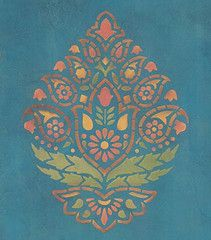 indian paisley pattern stencil