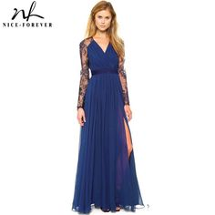 33c38a6be43f US $17.09 5% OFF|Aliexpress.com : Buy Nice forever Sexy Blue Summer Elegant V  Neck Long Lace Sleeve Fitted dress Women Fashion Slimming Chiffon Split  Maxi ...