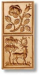 2 Pictures - Rose Deer Springerle Cookie Mold