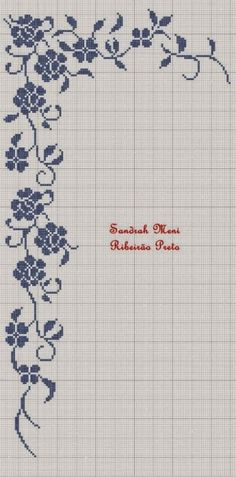 filet crochet border of roses and viny leaves with art deco look Cross Stitch Borders, Cross Stitch Flowers, Cross Stitch Charts, Cross Stitch Designs, Cross Stitching, Cross Stitch Embroidery, Embroidery Patterns, Cross Stitch Patterns, Crochet Patterns