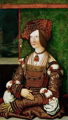 Bernhard Strigel -- Bianca Maria Sforza, Empress, half length