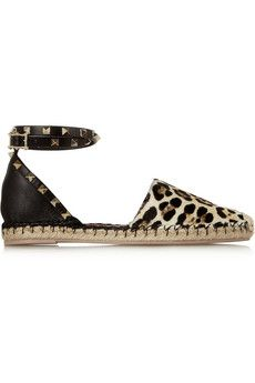 Valentino Leather and leopard-print calf hair espadrilles | NET-A-PORTER