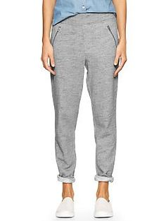 GAP Zip-pocket track pants // A more affordable day-look for jogger pants. You can cuff the ankle or not. Just like they show here, pair with a denim shirt and a sneaker and you're good to run errands or have lunch with a friend.