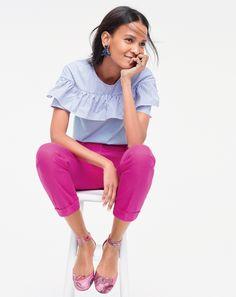 Striped ruffles + pink pants = wear-now perfection. #speakjcrew