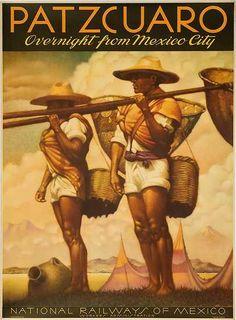 Patzcuaro Mexico Original Travel Poster, ca 1950s
