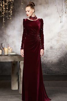 Velvet Long Sleeves Ruched Fuchsia Floor Length Evening Gown [DZC30836] - Aiven.co.uk - Aiven.co.uk