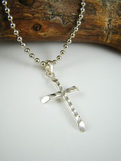 Mens Cross Necklace Sterling Silver Cross by ShinyLittleBlessings, $27.00