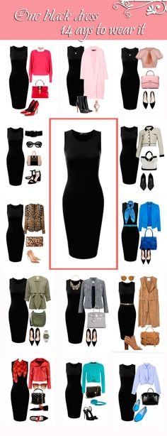 One black Dress in a Capsule Wardrobe: Fourteen Ways to Wear It -Relaxwoman - - Black dress – classic, always fashionable clothes. What is the combination of a black dress, what color is best for you? Choose You! Source by bellajoya Work Fashion, Trendy Fashion, Womens Fashion, Fashion Tips, Fashion Black, Style Fashion, Fashion Ideas, Formal Fashion, Workwear Fashion