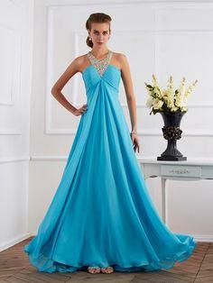 Empire Halter Sleeveless Beading Long Chiffon Dresses