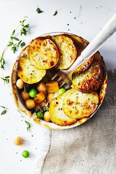 "19 meatless Monday dinner recipes, like Veggie Pot Pies With Crispy Potatoes, that turn mushrooms into ""meat""."