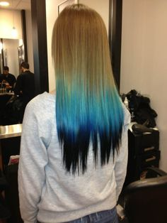 Blue ombre dip dyed hair idea