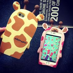 Adorable Giraffe Bee Silicone IPhone 4/4s/5/5s/6/6s Case
