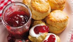 """""""Almost sugar-free"""" scones with sugar free strawberry jam - click to see the full recipe"""