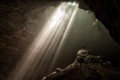 Jomblang Cave - I've been traveling to Jakarta for work a bit lately and I'm always looking for new places to photograph.  I was inspired by some shots of this cave I found here on 500px and knew that I had to go there. This was the toughest selfie I've ever taken. Set up the tripod and camera, frame the image and take a test shot or two to check the focus. Lock things down and then scramble through the mud and slipery rocks to the base of the rock column. Remove sandels and climb atop the…