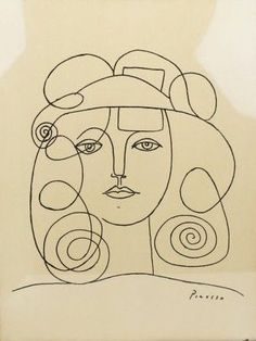 Lady's face and hair, Picasso sketch, I don't know why, but I like this so much.