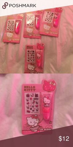 4 Hello Kitty Lip Glosses 👄👄👄 For Hello Kitty with lipgloss 6 pink all match. Super cute ideas for a girls party or to staff gift bags Hello Kitty Makeup Lip Balm & Gloss