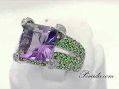 In Love!!!  Purple Amethyst Green Garnet Diamond Large Gemstone Ring in White Gold [R4988]