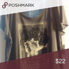 Torrid T-shirt Grey tee with skull and rose print Torrid Tops Tees - Short Sleeve