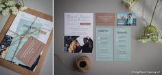 Ontwerp Marjolein Vormgeving. Trouwkaart Marcel & Marjon #trouwkaart #ontwerp #trouwen #kraftpapier #mint #losse #kaartjes #marjoleinvormgeving #trouwkaarten #uitnodiging
