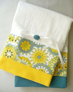 Kitchen towels with gray yellow and slate by SeamlessExpressions