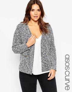 ASOS CURVE Textured Jersey Blazer With Zip Detail