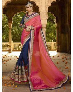 Pinkish Orange & Dark Blue Art Silk Saree