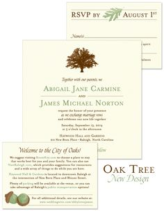 Oak Tree Wedding Invitation | By The Green Kangaroo, Inc.