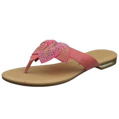 Womens Flat Sandals Studded Bow Accent Slip On Thong Sandal Coral SZ 9 * Check this awesome product by going to the link at the image.(This is an Amazon affiliate link)