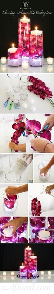DIY Glowing Submersible Centerpiece. Light up your wedding with glowing submersible centerpieces. Submerge faux orchids in water, and add a floating candle and submersible light for a romantic DIY centerpiece. Find everything you need at http://Afloral.com.