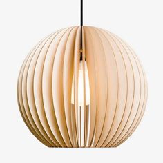 IUMI's Aion Extra-Large Pendant Lamp is a stunning pendant light, a hanging orb of laser-cut birch plywood. Available in a wide variety of colours on NOXU Home. Lamp, Wooden Pendant Lighting, Large Lamps, Wooden Pendant, Modern Lamp Design, Pendant Lamp, Large Pendant Lamp, Light, Wood Pendant Light