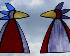 Whimsical Stained Glass Bird Suncatcher with door BoxesandBeyond