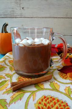 Pumpkin Spice Hot Chocolate - A thick, creamy, healthy, vegan, guilt-free, super chocolaty hot drink made with pumpkin and spices. Simple perfect for a chilly evening. Under 100 calories!