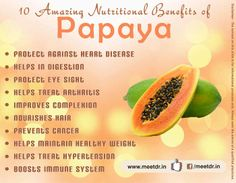 10 Amazing Nutritional Benefits of #Papaya  #nutrition #healthyfruits #healthydiet
