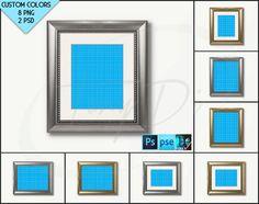 8x10 Frame Mockup #W1 | Silver Golden Portrait Landscape Matted Frame, White Background, Photoshop, Mock-up, PNG scene, Blank frame