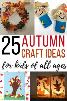 Fall crafts for kids! 25 different fall craft ideas for kids to make at home or at preschool. Autumn crafts for toddlers, preschoolers, and even up through tweens. 25 fun autumn crafts for your kids. Check them out! #fallcrafts #fallcraftsforkids #autumncrafts #kidscrafts #kidsactivities #parenting Fall Crafts For Toddlers, Easy Fall Crafts, Crafts For Kids To Make, Toddler Crafts, Holiday Crafts, Fun Crafts, Kids Diy, Rainy Day Activities, Autumn Activities
