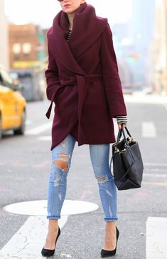 Loving the color and style of this burgundy pocket coat from SheIn!