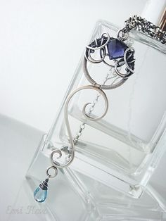 Silver and gemstone wire wrapped pendant