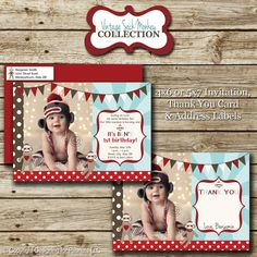 Sock Monkey Birthday Party Photo Invitation, Matching Thank You Card & Return Address Labels in ANY color scheme, printable, digital. $20.00, via Etsy.