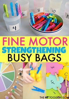 When kids struggle with weak fine motor skills, they can have difficulty in so many areas! This post includes ideas for using clothespins and busy bags to improve fine motor strength. Preschool Fine Motor Skills, Fine Motor Activities For Kids, Motor Skills Activities, Toddler Learning Activities, Gross Motor Skills, Preschool Activities, Dementia Activities, Kids Motor, Fine Motor Activity