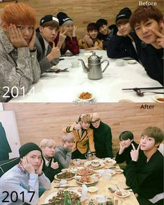 """43.6k Likes, 252 Comments - BTS - 정국사진관 - BANGTAN (@vkookie) on Instagram: """"2014 & 2017  Before vs After ❤ Same place same position different feels  -"""""""