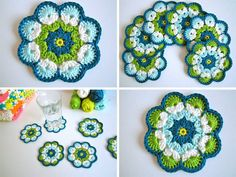 Super cute crochet coasters - love the colours in these Crochet Home, Love Crochet, Crochet Gifts, Crochet Motif, Crochet Doilies, Knit Crochet, Crochet Coaster, Thread Crochet, Crochet African Flowers