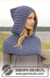 "Maid Marian - Knitted DROPS neck warmer with hood with fasle English rib in 2 strands ""Brushed Alpaca Silk"". Size: S - XXXL. - Free pattern by DROPS Design"