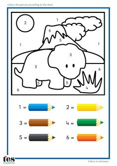 Simple colour by numbers dinosaur pictures with clear visuals. Each uses 6 colours.