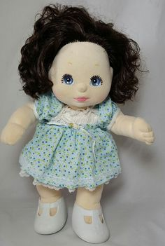 Mattel MY CHILD Doll Brown Black Brunette Hair Blue Eyes 1985 Original Clothes