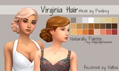 vallloou Hi everybody This is my first recolor and Im proud of it Its the recolor of the Virginia hair from pxelboy in the Naturally Palette Base Game Compatible Need. Sims 4 Mm Cc, Sims Four, Maxis, Star Citizen, Play Sims 4, The Sims 4 Cabelos, Pelo Sims, Sims 4 Game Mods, Sims 4 Gameplay