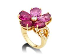 Fancy - Sapphire Flower 18 kt yellow gold ring with pink tourmalines, rubellites and pavé diamonds